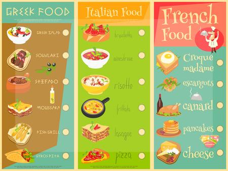 french cafe: European Cuisine Menu Set. Greek, Italian, French Food. Menu Covers.
