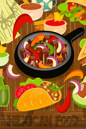 Mexican Food Menu Card with Traditional Spicy Meal on Wooden Background. Fajitas.