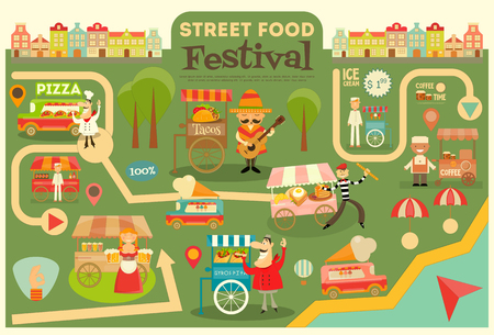 Street Food Festival on City Map. Food carts on Infographic Card. Sellers and Trucks with Food. Mexican, Italian, Greek, French Cuisine. Ilustração