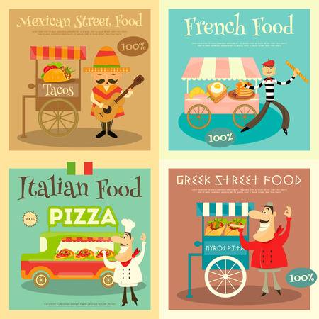 Street Food Festival Posters Set. Sellers and Trucks with Food. Mexican, Italian, Greek, French Cuisine.
