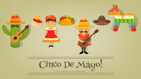 latinoamerica: Mexican Card in Retro Style. Cinco de Mayo.