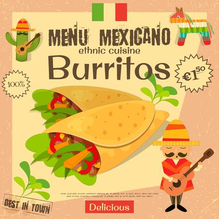 tortilla de maiz: Menú mexicano. Burritos. La comida tradicional mexicana. Estilo vintage.