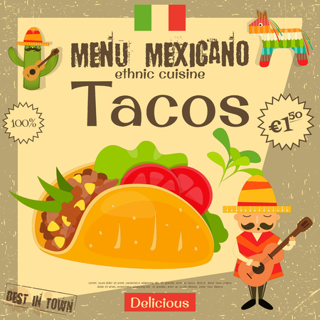 ground beef: Mexican Menu. Tacos. Mexican Traditional Food. Vintage Style.