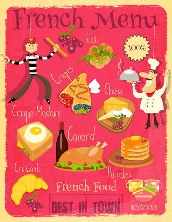 Franse Eten Menu kaart met traditionele maaltijd. Retro Vintage Design.