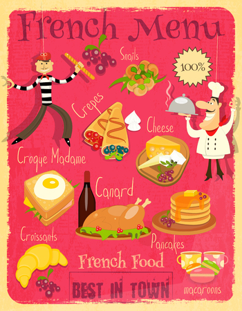 French Food Menu Card with Traditional Meal. Retro Vintage Design. Çizim