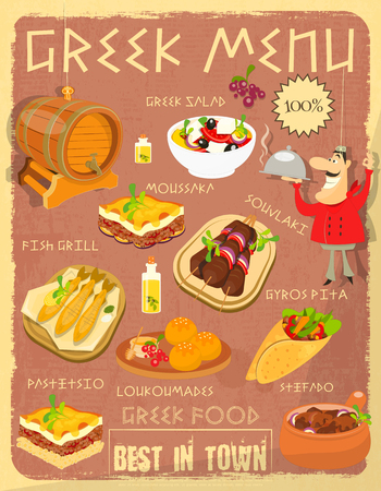 bbq barrel: Greek Food Menu Card with Traditional Meal. Retro Vintage Design. Greek Cuisine. Food Collection.