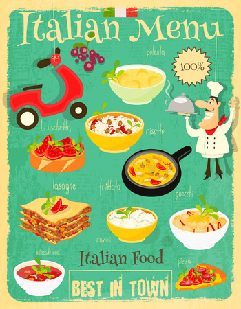chef kitchen: Italian Food Menu Card with Traditional Meal. Retro Vintage Design. Italian Cuisine. Food Collection.