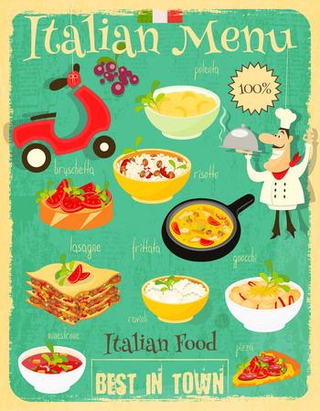 italian kitchen: Italian Food Menu Card with Traditional Meal. Retro Vintage Design. Italian Cuisine. Food Collection.