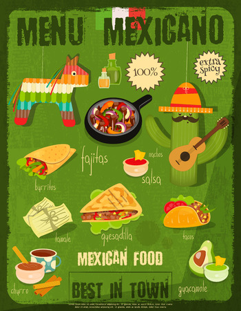 pinata: Mexican Food Menu Card with Traditional Spicy Meal in Retro Vintage Style.