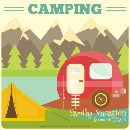 rv: Mountain Camping with Family Trailer Caravan. Campsite Landscape with RV Traveler Truck and Tent. Outdoor Traveling Vacation.
