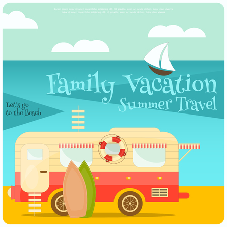 campsite: Sea Camping with Family Trailer Caravan. Campsite Landscape with RV Traveler Truck. Outdoor Traveling Vacation. Illustration