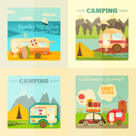 Camping with Family Trailer Caravan. Campsite Landscape with RV Traveler Truck and Tent. Outdoor Traveling Vacation.