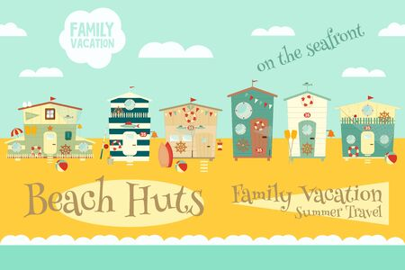 sandy beach: Beach Huts on Seafront. Summer Poster. Advertisement for Family Summer Vacation in Beach Houses.