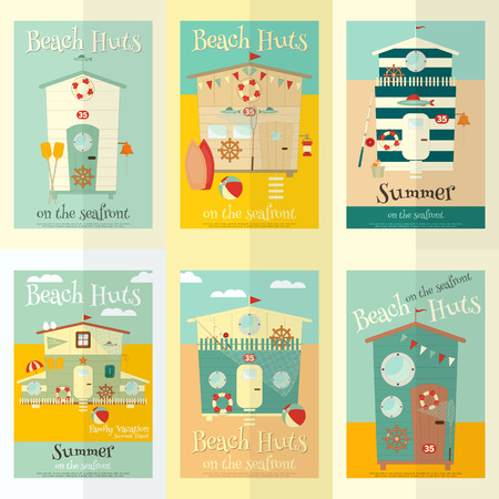 beach hut: Beach Huts on Seafront Mini Posters Set. Summer Poster. Advertisement for Family Summer Vacation in Beach Houses.