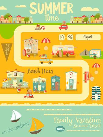 caravans: Summer Card. Beach Huts, Caravans, Cars on Summer Poster. Seafront. Camping.