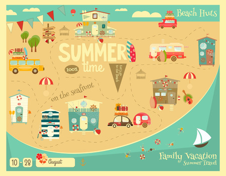 beach huts: Summer Vacation Card. Beach Huts, Caravans, Cars on Summer Poster. Seafront. Camping.