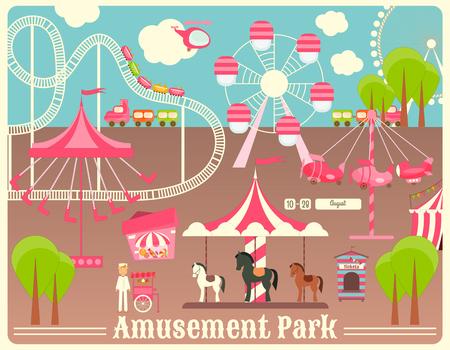 fairground: Amusement Park. Summer Holiday Card with Fairground Elements. Illustration