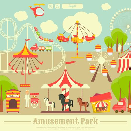 amusement park rides: Amusement Park. Summer Holiday Card with Fairground Elements - Rides, Carousel. Vector Illustration.