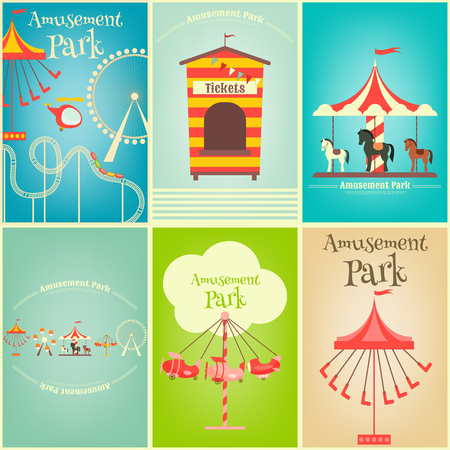 summer holiday: Amusement Park. Summer Holiday Card with Fairground Elements. Mini Posters Set. Vector Illustration.