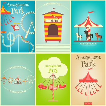 amusement: Amusement Park. Summer Holiday Card with Fairground Elements. Mini Posters Set. Vector Illustration.