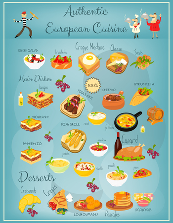 french culture: European Cuisine Menu. Greek, Italian, French Food. Menu Cover. National Dishes. Vector Illustration. Illustration
