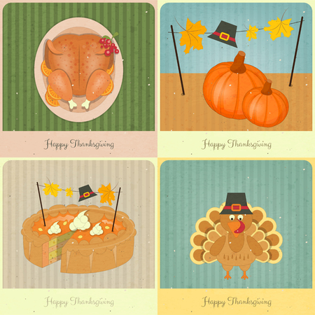Happy Thanksgiving Card Set Of Vintage Turkey Day Posters Vector