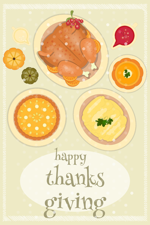 roast turkey: Roast Turkey Thanksgiving Day and Traditional Dishes - Cranberry Sauce, Pumpkin Pie, Pumpkin Soup and Mash Potatoes. Top view. Thanks Giving Card in Retro Style.