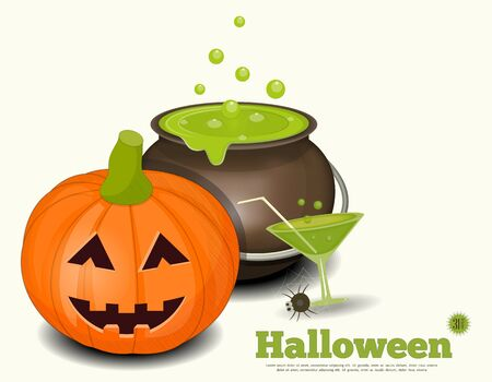 Halloween Card - Pumpkin, Green Potion on White Background. Illustration