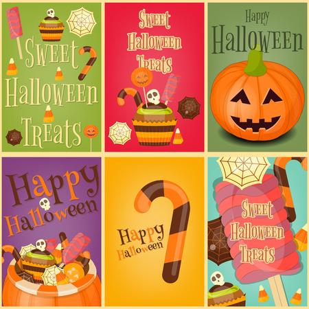 sweet treats: Halloween Sweet Treats - Jack-o-lantern Basket with Pile of Candy. Halloween Pumpkin. Retro Posters Set. Illustration