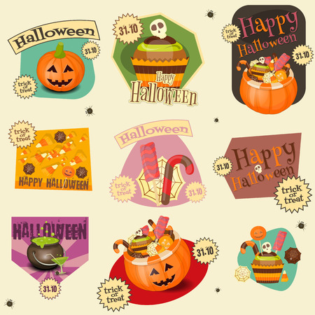 simbols: Halloween Stickers Set - Simbols and Signs of October Halloween. Sweet Treats and Jack-o-lantern. Vector Illustration.