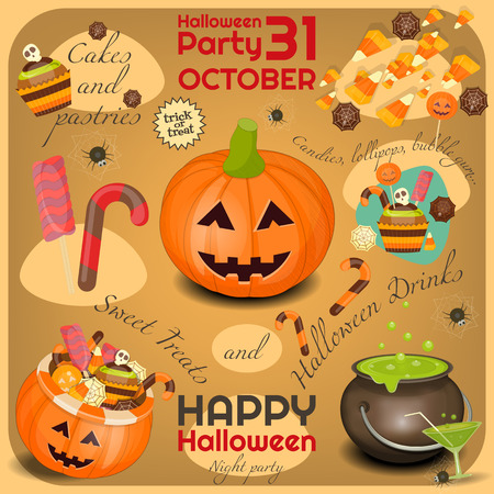 sweet treats: Halloween Poster - Symbols and Signs of October Halloween. Sweet Treats and Jack-o-lantern. Invitation Card for Party. Vector Illustration.