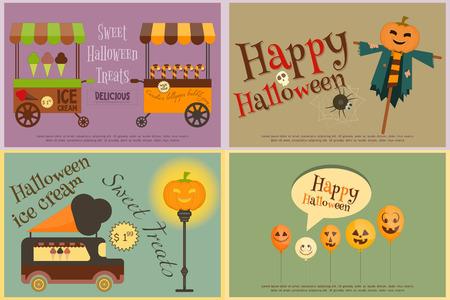 sweet treats: Halloween Sweet Treats - Ice Cream and Lollipop - Street Food. Halloween Pumpkin. Retro Posters Set. Vector Illustration.