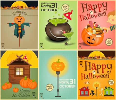sweet treats: Halloween Posters Set. Symbols and Signs of October Halloween. Sweet Treats and Jack-o-lantern. Vector Illustration.