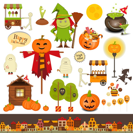 Halloween Set of Trick or Treat Objects on White Background. Vector Illustration. Illustration
