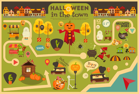 street symbols: Halloween in Town - Street Food and October Party Symbols on City Map.  Sweet Treats and Jack-o-lantern. Invitation Card for Party. Vector Illustration.