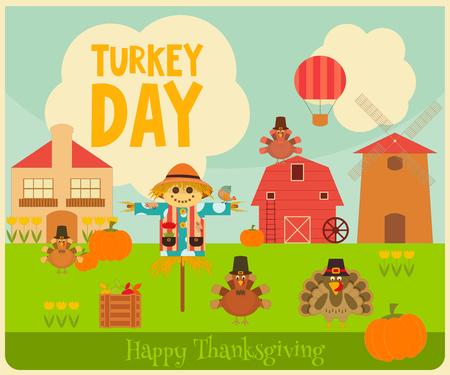 Happy Thanksgiving Greeting Card. Turkey Day. Turkeys, Scarecrow and Pumpkin - Village Landscape. Vector illustration.