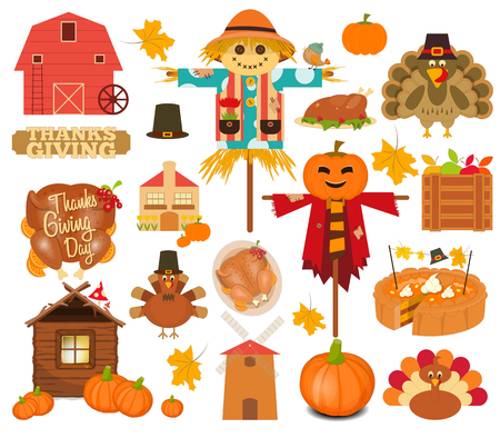 Thanksgiving Set of Turkey Day Objects on White Background. Vector Illustration. Illustration