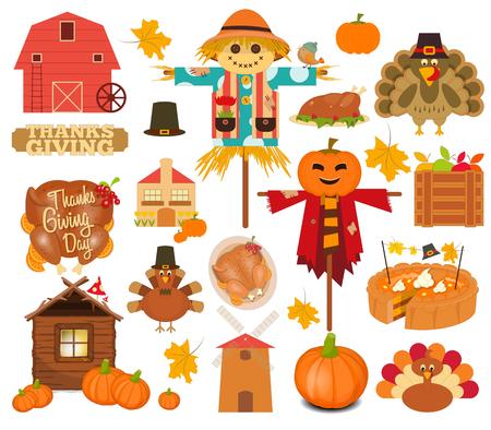 barn wood: Thanksgiving Set of Turkey Day Objects on White Background. Vector Illustration. Illustration