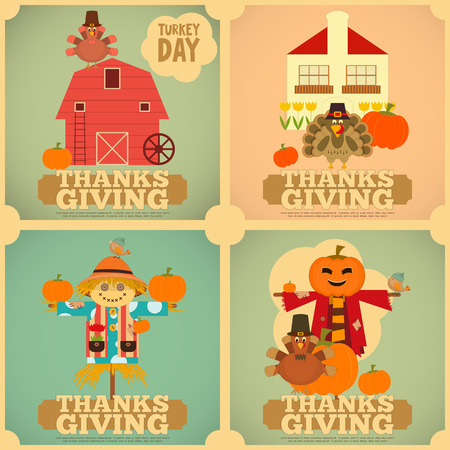 Happy Thanksgiving Greeting Card. Set of Vintage Turkey Day Mini Posters. Turkey, Scarecrow and Pumpkin.  Square Format. Vector illustration.