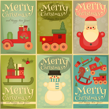 wooden doll: Merry Christmas and Happy New Year Posters Set in Retro Style. Vintage Toys Collection - Wooden Santa Claus, Snowman, Train. Vector Illustration.