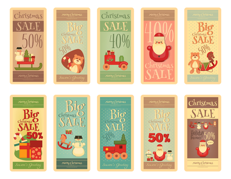 Weihnachten Sale Tags im Retro-Stil. Große Reihe von Frohe Weihnachten Sell-out auf weißem Hintergrund. Vektor-Illustration. Vektorgrafik