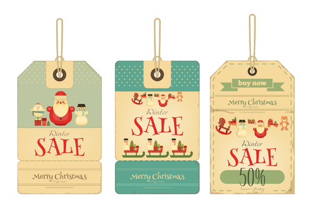 retro christmas: Christmas Sale Tags in Retro Style. Isolated on White Background. Vector Illustration.