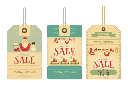 osos navideños: Etiquetas de la venta de la Navidad en estilo retro. Aislado en el fondo blanco. Ilustración del vector. Vectores