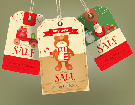 christmas sale: Merry Christmas Sale Tags in Retro Style. Vintage Toys. Vector Illustration.