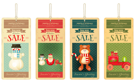 sale tags: Merry Christmas Sale Tags in Retro Style. Isolated on White Background. Vector Illustration.