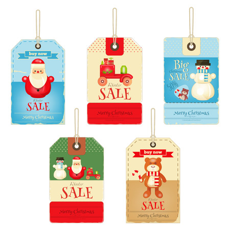 retro christmas: Christmas Sale Tags Isolated on White Background. Vector Illustration.