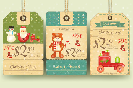 retro christmas: Christmas Toys Sale Tags in Retro Style. Vector Illustration. Illustration