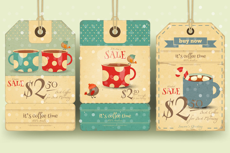 retro christmas: Coffee Time - Set of Tags with Coffee Cups in Retro Style. Winter Sale. Vector Illustration. Illustration