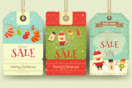 retro christmas: Christmas Sale Tags in Retro Style. Winter Sell-out Labels Collection. Vector Illustration.