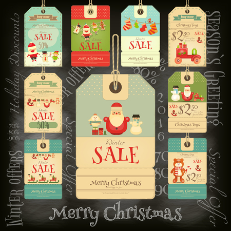 retro christmas: Christmas Sale Tags in Retro Style on Blackboard. Chalk Text. Winter Sell-out Labels Collection. Vector Illustration.